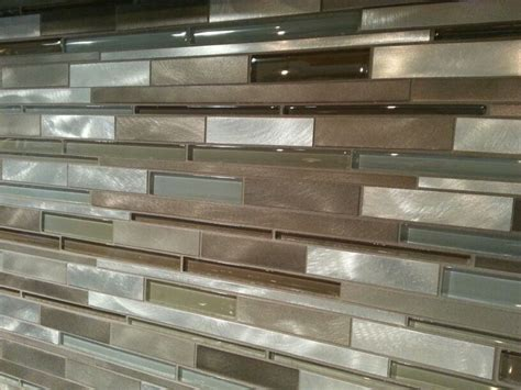 mixed glass and metal tile backsplash gt sk tile beautiful different shapes and