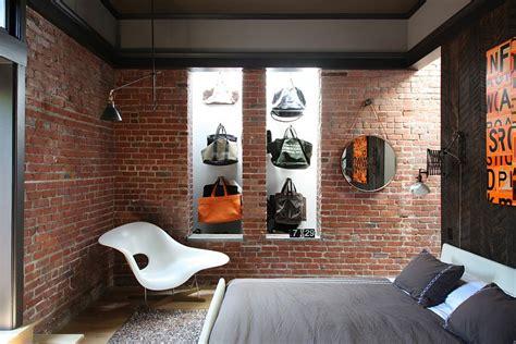 Loft Der Moderne Lebensstilloft Design In Rot Und Weiss by Dekoideen F 252 R Die Ziegelwand Im Schlafzimmer Und Eine