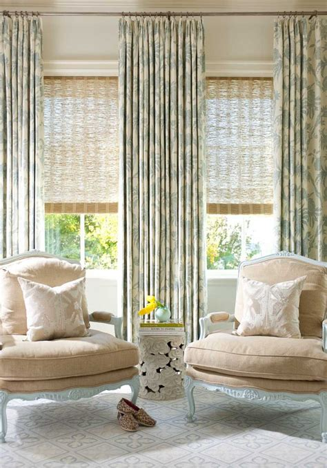 wide window treatments living room traditional