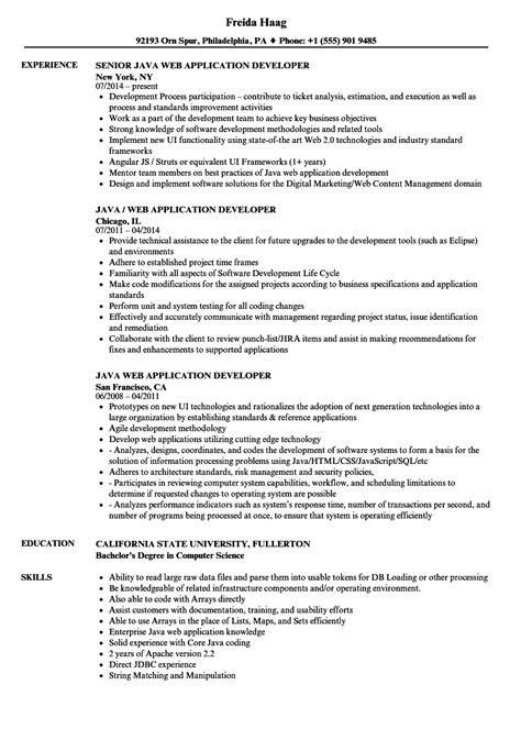 java web application developer resume sles velvet