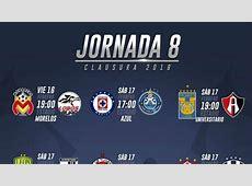 Fechas y horarios de la jornada 8 del Clausura 2018 de la