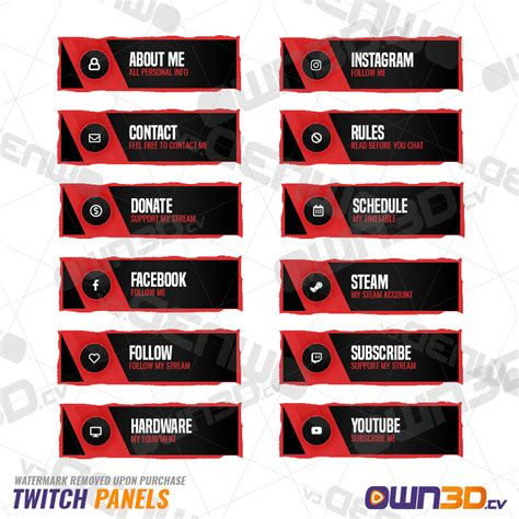 twitch info panel templates twitch panels royale red own3d tv 1 game streaming shop