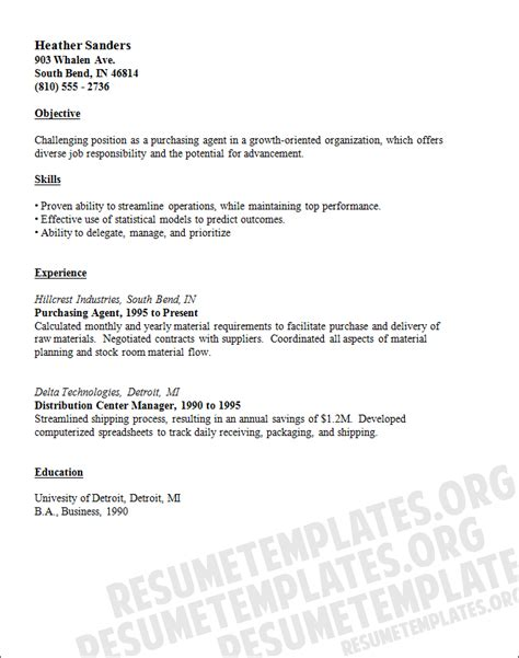 Purchasing Resume by Purchasing Resume Template Buying Cv Sles