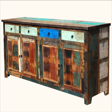 Distressed Sideboard Weathered Rustic Old Reclaimed Wood