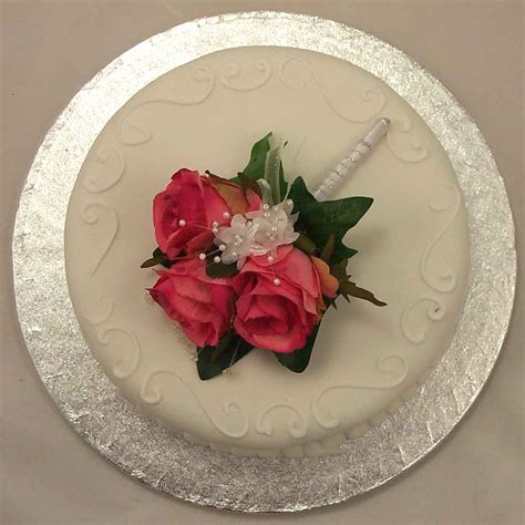 cake decorations pink rose corsage cake topper silk