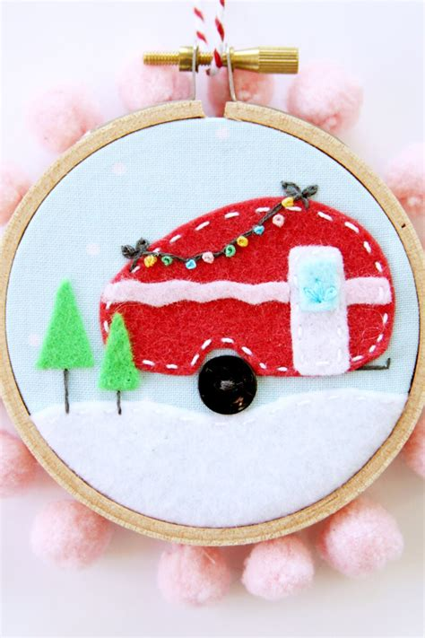 camper christmas ornament  heart nap time