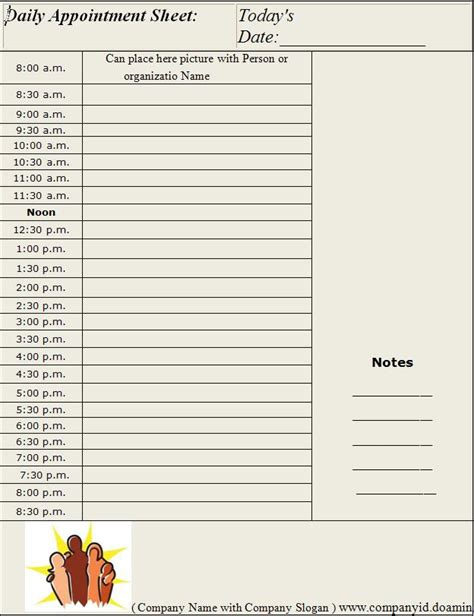 daily appointment sheet template graphics  templates