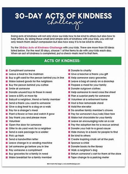 Acts Challenge Kindness Random Printable Challenges Days