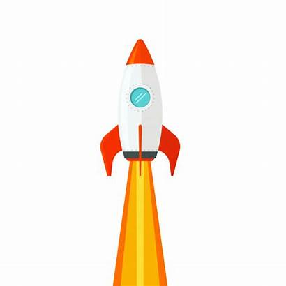 Rocket Ship Cartoon Launch Background Vector Clip