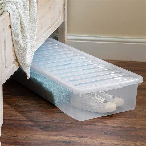 Underbed Storage Box with Lid 55L Clear Storage Boxes