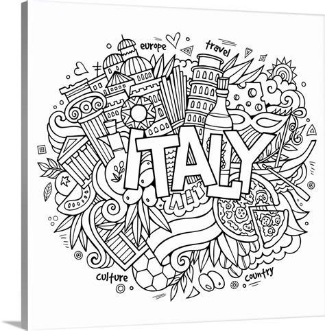 Coloring Italy by Italy Coloring Canvas Wall Print Entitled Italy