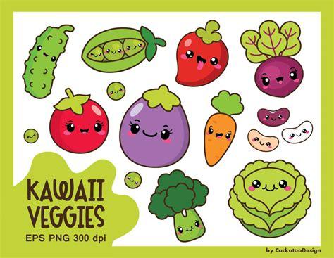 Kawaii Clipart by Kawaii Vegetables Clipart Kawaii Veggies Clipart Healthy