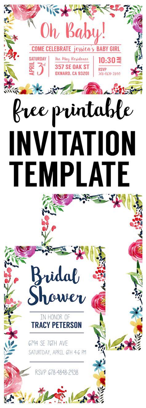 Floral Borders Invitations {Free Printable Invitation