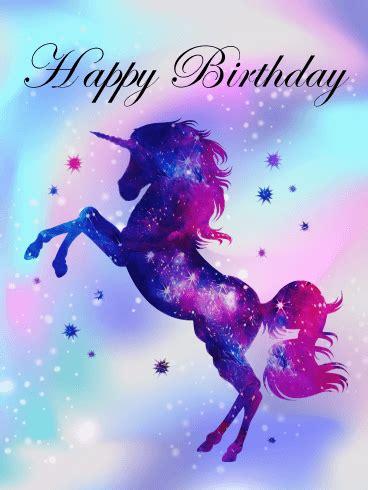 purple unicorn happy birthday card birthday greeting