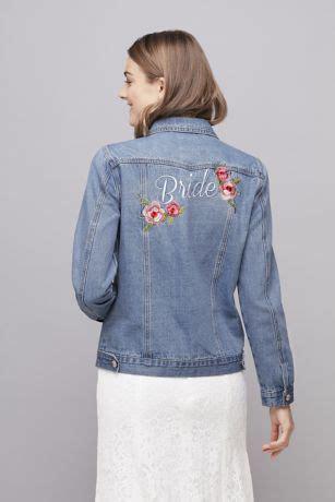 embroidered bride denim jacket davids bridal
