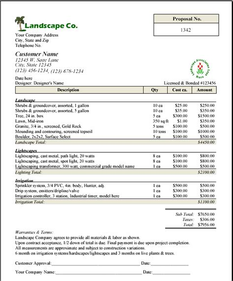 landscaping bid template free printable lawn service contract form generic