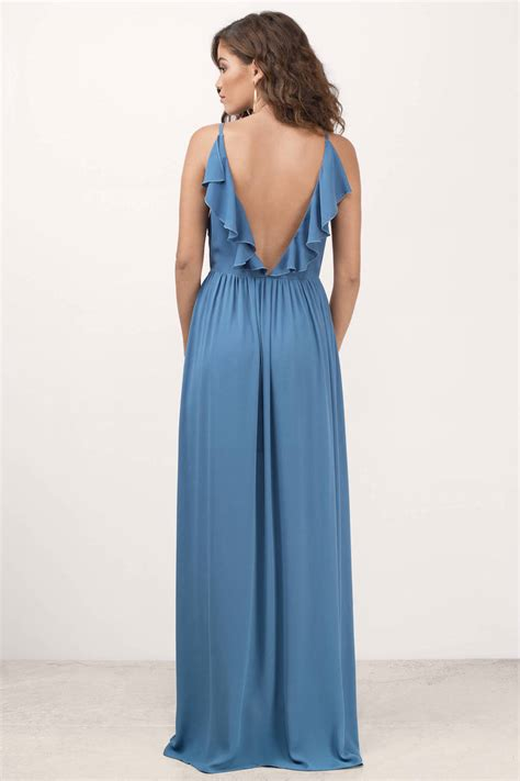 Dress Lusia Maxy blue dress plunging dress blue dress
