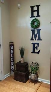 wood letters home with wreath wall decor diy living
