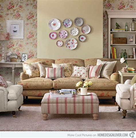 Country French Living Room Pictures by 15 Living Room With Floral Wallpapers Home Design Lover