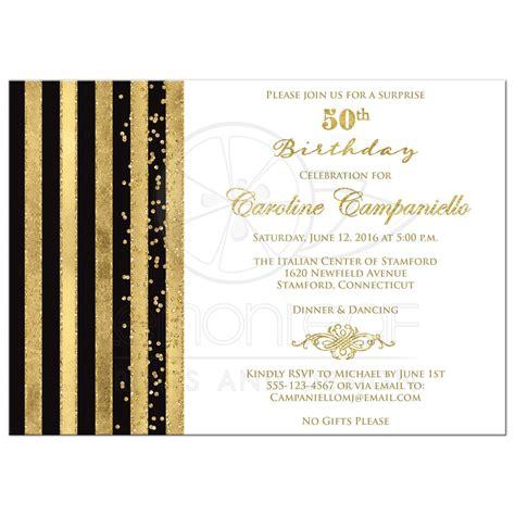 gift for 50th wedding anniversary 50th birthday invitation black white gold stripes