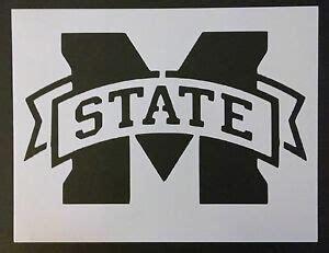 msu mississippi state ribbon emblem    stencil
