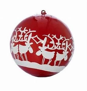 Boule De Noel Personnalisee : boule de no l rouge et rennes blancs le march de no l creavea ~ Carolinahurricanesstore.com Idées de Décoration