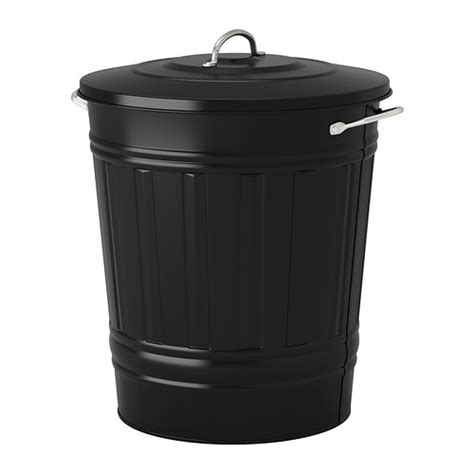 poubelle cuisine 40l knodd bin with lid black 11 gallon ikea