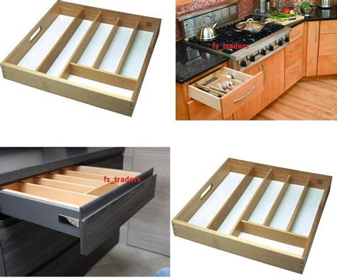 Large Beechwood Wooden Wood Cutlery Drawer Tray Organizer