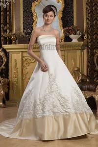 a line strapless embroidered ivory and champagne wedding With ivory champagne wedding dress