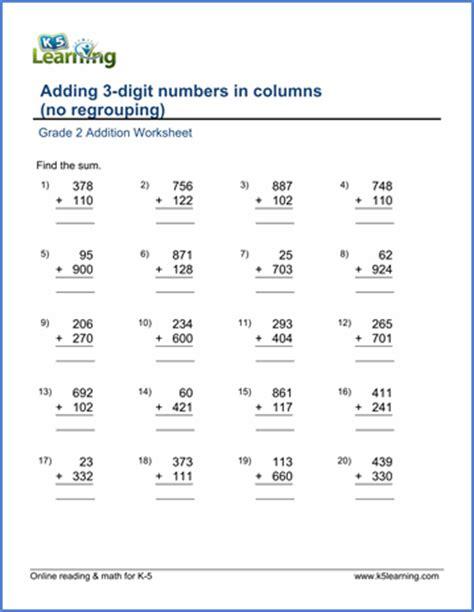 grade 2 worksheet add two 3 digit numbers in columns