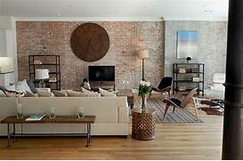 Brick Wall Interior House Industrial Feel Living Room Design With Original Brick Wall