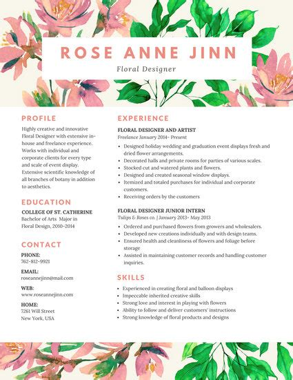 Colorful Resume Templates by Colorful Floral Resume Templates By Canva
