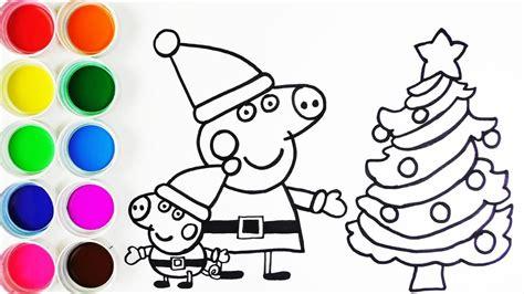 como dibujar  colorear  peppa pig   george en navidad
