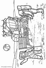 Coloring Pages Printable Space Astronauts Near Spaceship Boys Print sketch template