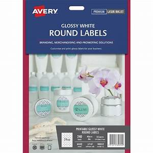 avery round gloss label 40mm white 240 pack officeworks With avery glossy white round labels