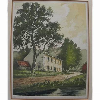 French Country Pencil Pond Signed Croisset