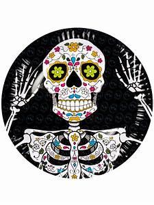 Teller Schwarz Weiß : tag der toten teller halloween teller set 6 st ck schwarz weiss bunt 23cm g nstige faschings ~ Eleganceandgraceweddings.com Haus und Dekorationen