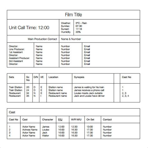 sample call sheet templates  ms word