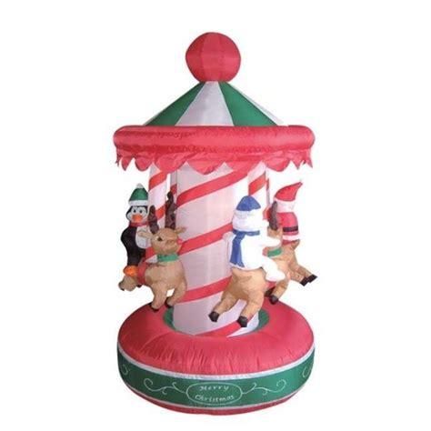 6 5 foot animated christmas inflatable rotating carousel