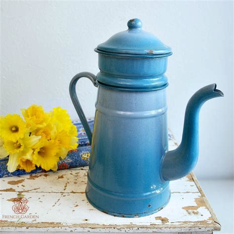 Antique French Enamel Blue Large Coffee Pot Biggin