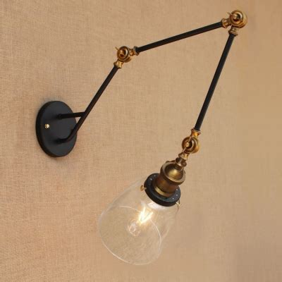 brass finish swing arm wall l with dome shade industrial transparent glass 1 wall sconce