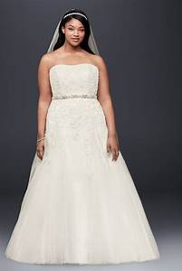 david39s bridal a line beaded tulle plus size wedding dress With plus size tulle wedding dress