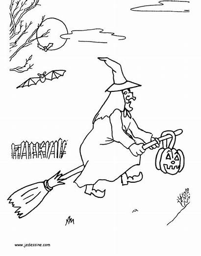 Witch Coloring Pages Scarlet Flying Broomstick Halloween
