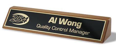 desk name plate designs red alder desk wedge name tag inc