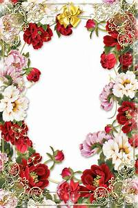 Flowers-Picture-Frame-with-Golden-Floral-Border.png (1200 ...