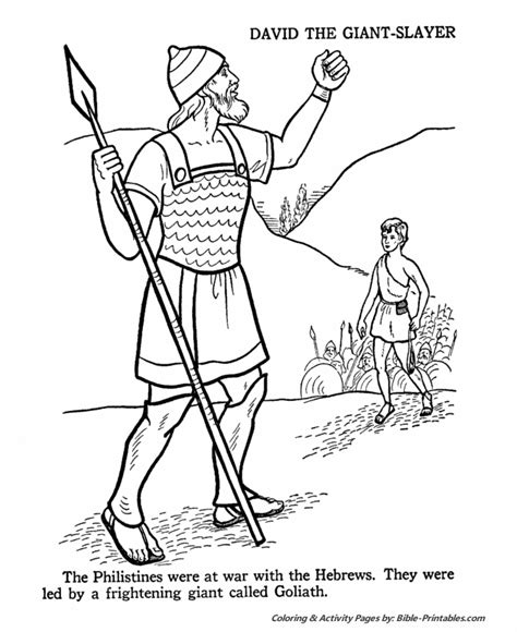 david  goliath  testament coloring pages bible