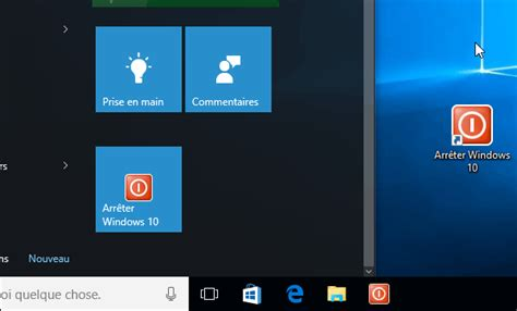 raccourci sur bureau windows 10 créer un raccourci pour arrêter ou émarrer