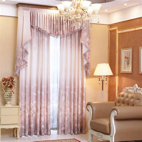curtain rod for bay window pink floral print linen bedroom or living room