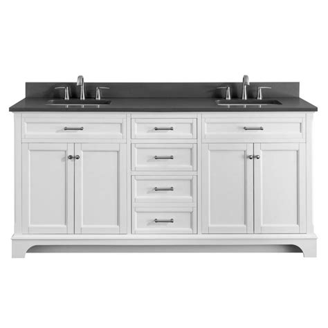 White Vanity With Gray Top by Living Roveland 72 In White Sink Bathroom