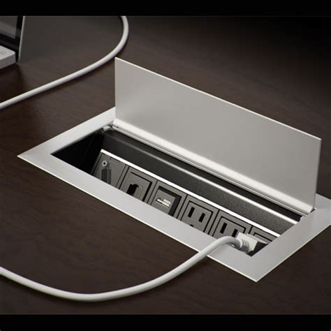 desk l with outlet and organizer ellora recessed power data desk outlet cableorganizer com